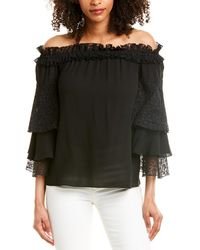 Michael Kors Silk-georgette And Lace Off-the-shoulder Top - Black