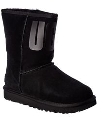 UGG Classic Short Rubber Logo Suede Boot - Black