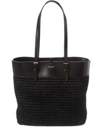 Saint Laurent Mini E/w Boucle Raffia & Leather Tote - Black