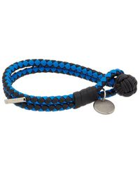 Bottega Veneta Intrecciato Nappa Leather Bracelet - Blue