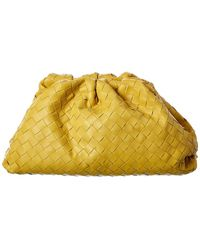 Bottega Veneta The Pouch Maxi Intrecciato Leather Clutch - Yellow