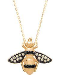 Gabi Rielle 22k Over Silver Cz Bee Necklace - Metallic