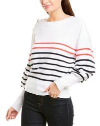 Laundry by Shelli Segal Striped Button Shoulder Dolman Jumper - White