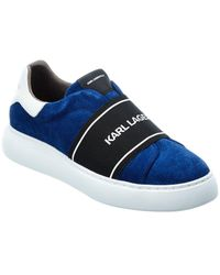 Karl Lagerfeld Banded Laceless Perforated Suede Trainer - Blue