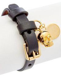 Alexander McQueen Skull Charm Leather Bracelet - Multicolour