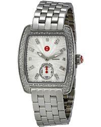 Michele Mini Urban Silver Diamond Watch - Metallic