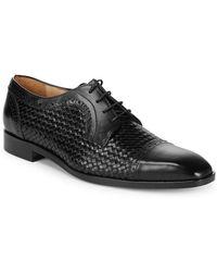 Saks Fifth Avenue Woven Captoe Dress Shoe - Black