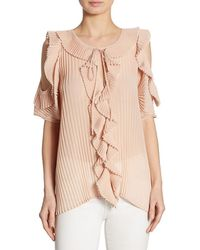DELFI Collective Monica Pleated Ruffled Cold-shoulder Top - Pink