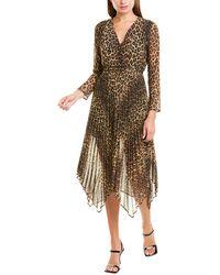 The Kooples Contemporary Leopard Midi Dress - Brown