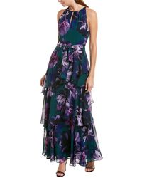 Tahari Printed Floral Chiffon Full-length Gown W/ Keyhole Neckline And Tiered Skirt - Green