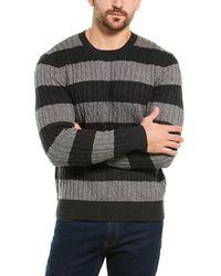 Brooks Brothers Wool Blend Stripe Sweater - Gray