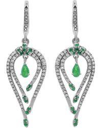 Diana M. Jewels . Fine Jewellery 14k 1.25 Ct. Tw. Diamond & Sapphire Earrings - Multicolour