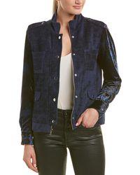 Drew Long Sleeve Stud Detail Velvet Jacket - Blue