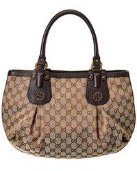 29c6433d9 Gucci Black Ssima Leather Small Bree Tote in Black - Lyst