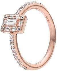 PANDORA Jewellery Rose 14k Rose Gold Plated Sparkling Square Cz Halo Ring - Metallic