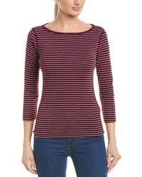 Three Dots Tahoe Stripe British T-shirt - Purple