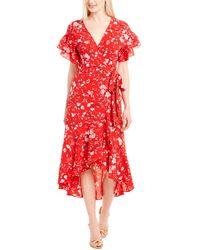 Max Studio Bubble Crepe Wrap Dress - Red