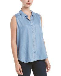 NYDJ Denim High-low Sleeveless Shirt - Blue
