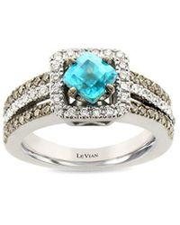 Le Vian ? Chocolatier? 14k Vanilla Gold? 1.10 Ct. Tw. Diamond & Blue Zircon Ring - Metallic