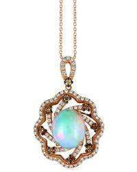 Le Vian ? Chocolatier? 14k Strawberry Gold? 3.09 Ct. Tw. Diamond & Opal Pendant - Metallic