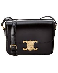 Céline Teen Triomphe Leather Crossbody - Black