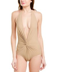 Karla Colletto Basic Plunge One-piece - Brown