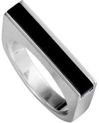 Georg Jensen Silver Onyx Ring - Metallic
