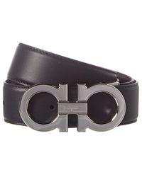 Ferragamo Gancini Reversible & Adjustable Leather Belt - Black