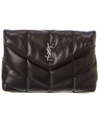 Saint Laurent Puffer Small Quilted Leather Pouch - Brown