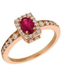 Le Vian 14k Rose Gold 0.79 Ct. Tw. Diamond & Ruby Ring - Multicolour