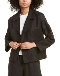 Eileen Fisher Double-breasted Linen-blend Jacket - Black