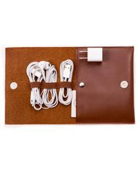 Bey-berk Brown Leatherette Travel Charger Case