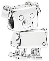 PANDORA Moments Silver Enamel Bobby Bot Charm - Metallic