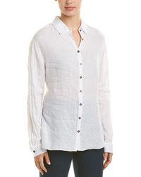 Three Dots Tie-front Linen Shirt - White