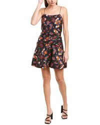 10 Crosby Derek Lam Cami Flounce Silk-blend Mini Dress - Black