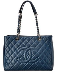 Chanel Toledo Blue Quilted Caviar Leather Grand Shopping Tote