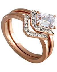 Swarovski Crystal Rose Gold Plated Set Of Rings - Metallic