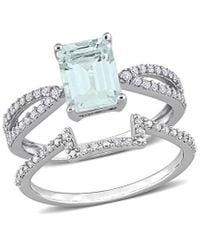 Rina Limor 14k 2.20 Ct. Tw. Diamond & Aquamarine Ring - Metallic