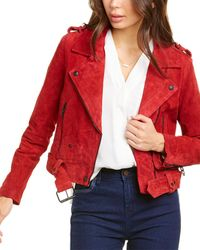 Blank NYC Suede Moto Jacket - Red