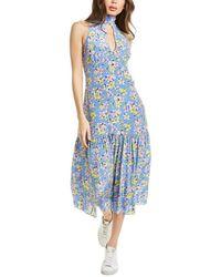 Les Rêveries Pussy Bow Silk Maxi Dress - Blue