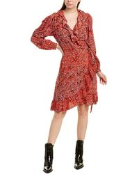 Maje Ruffle Wrap Dress - Red
