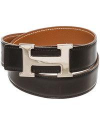 Hermès Palladium Plated H Leather Belt, Size 65 - Brown