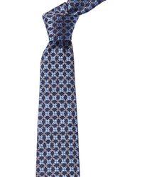 Ike Behar Purple Swirl Silk Tie - Blue