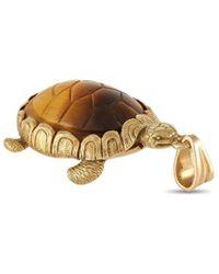 Hermès Hermes 18k Tiger's Eye Turtle Pendant - Metallic