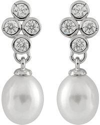 Splendid Silver 7-7.5mm Freshwater Earrings - Metallic