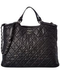 Chanel Black Quilted Lambskin Leather Wild Stitch 2way Handbag