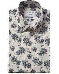 Ledbury Bennett Linen-blend Classic Fit Dress Shirt - Blue