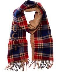 Gucci Vintage Logo Wool & Cashmere-blend Scarf - Red