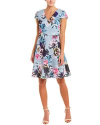 Adrianna Papell Mystic Floral Fit And Flare Dress - Blue