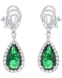 Diana M. Jewels . Fine Jewellery 18k 11.01 Ct. Tw. Diamond & Emerald Drop Earrings - Green
